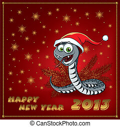 New Year Snake. Greeting Card. Vector illustration.