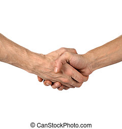 hand shake on white - The man greets hand shake success on...