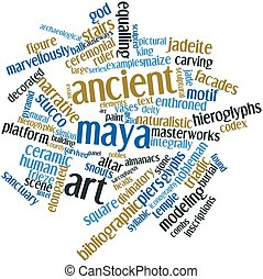 Word cloud for Ancient Maya art - Abstract word cloud for...