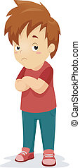 Unconvinced Kid - Illustration of a Boy with an Unconvinced...
