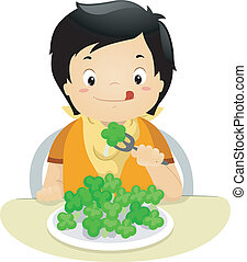 Brocolli Kid - Illustration of a Boy Eating Brocolli