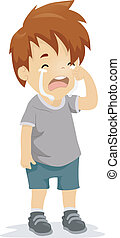 Crying Kid - Illustration of a Boy with Tears Running Down...
