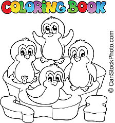 Coloring book cute penguins 2