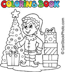Coloring book Christmas elf theme 1 - vector illustration.