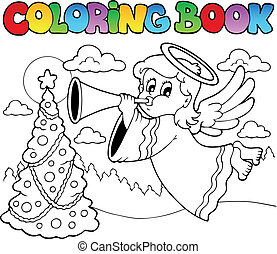 Coloring book image with angel 2 - vector illustration