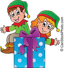 Christmas elf theme 3 - vector illustration