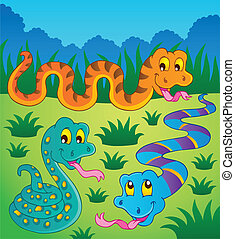 Image with snake theme 1 - vector illustration.