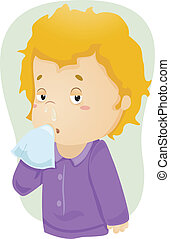 Runny Nose Kid - Illustration of a Boy Down with Cold with...