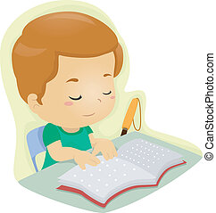 Braille Kid - Illustration of a Blind Boy Reading a Book...