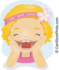 Toothy Grin - Illustration of a Little Girl Dressed in Pink...