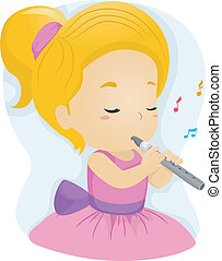 Flute Girl - Illustration of a Girl in a Pink Dress Playing...