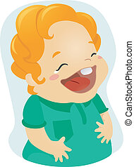 Laughing Kid - Illustration of a Boy Laughing Out Loud