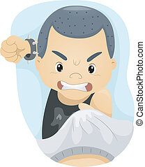 Fighting Kid - Illustration of a Boy About to Punch Someone...