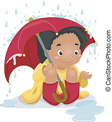 Playing in the Rain - Illustration of a Girl Wearing a...