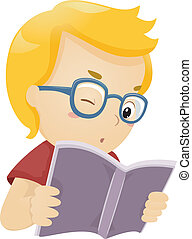 Kid Reading Book - Illustration of a Glasses Wearing Boy...