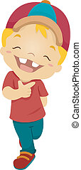 Happy Kid - Illustration of a Boy Beaming Happily