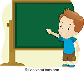Blackboard Boy - Illustration of a Boy Writing on a...