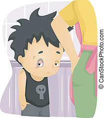 Beaten Up Kid - Illustration of a Beaten Up Boy with Bruises...