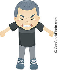 Angry Kid - Illustration of a Boy Seething with Anger