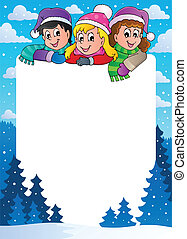 Winter theme frame 1 - vector illustration.