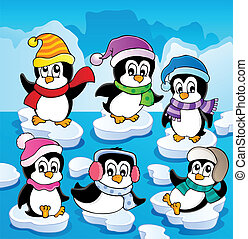 Winter theme with penguins 2 - vector illustration