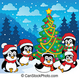 Winter theme with penguins 3 - vector illustration