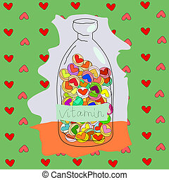 vitamins love - illustration contains a bright green...