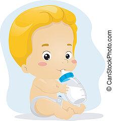 Baby Boy Sucking Milk