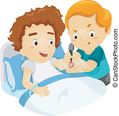Cast Doodle Kid - Illustration of a Boy Drawing Doodles on...