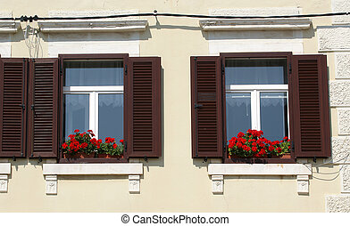Window of an apartment house with flowers on the windowsill, Porec, Istria, Croatia