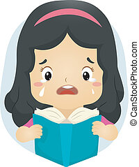 Sad Story - Illustration of a Tearful Girl Reading a Book