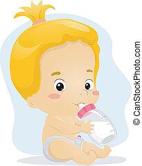 Baby Girl Sucking Milk