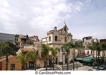 The building is modern Catholic Church, Acicastello, close to Catania, Sicily. Italy