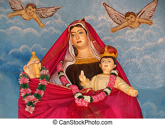 Madonna with baby. Catholic pilgrimage center. DIVINE MERCY...