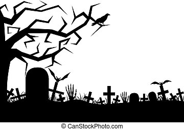 Cemetery - Cemetery isolated on white