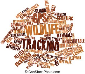 GPS wildlife tracking - Abstract word cloud for GPS wildlife...