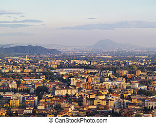 Bergamo, view from city hall tower, Lombardy, Italy - Photo...