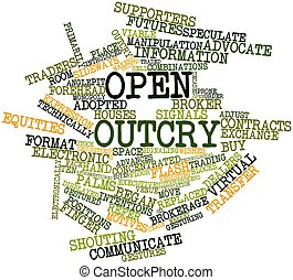 Open outcry - Abstract word cloud for Open outcry with...