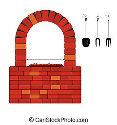 barbercue with red brick vector illustration