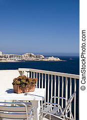 sliema malta rooftop hotel cafe view of mediterranean coast...