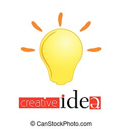 creativ idea sign with yellow light bulb vector