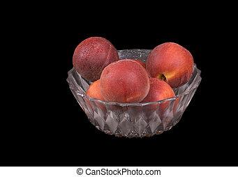 Fresh fruit - peaches in a bowl