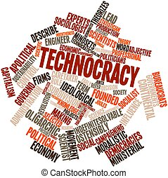 Technocracy - Abstract word cloud for Technocracy with...