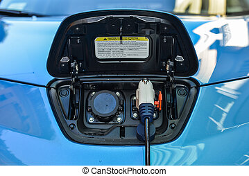 Electric car - Electric vehicle in car sharing station