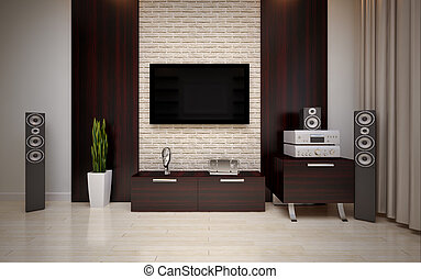 Modern living roomin bright bege shades