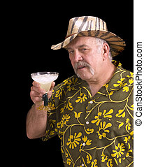 Had one too many Margaritas - Man in floral shirt Hawaiian...