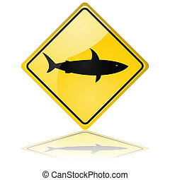 Shark warning sign - Glossy illustration showing a traffic...