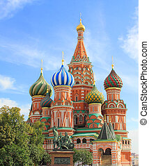 Saint Basils cathedral on Red Square in Moscow - St Basils...