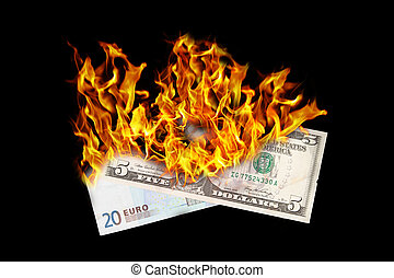 Burning money, dollar and euro bill on fire, isolated on...