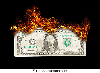 Burning dollar bill symbolizing careless money management...